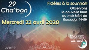 Début Ramadan 2020 : observation le 29 Cha^ban